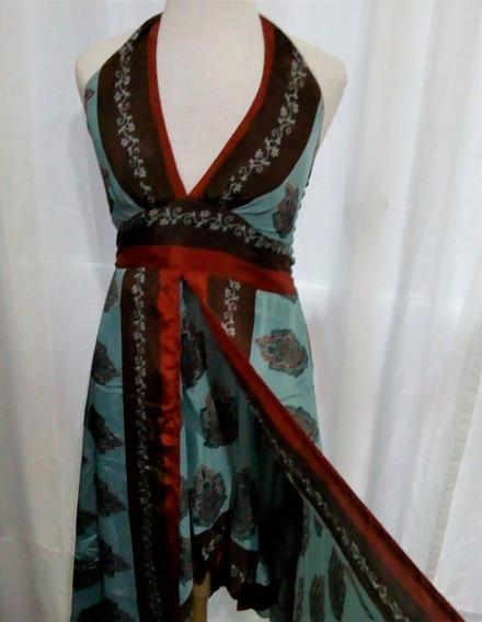 Vestido Seda Hindú Tipo Holi India Style Importado Fiesta