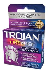 Condones Fire & Ice Lubricación Doble Acción 3 Piezas Trojan