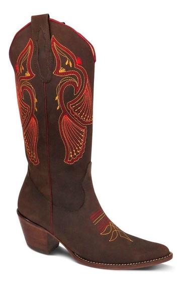 Bota Country Texana Br Couro Crazy Horse Feminina Cafe