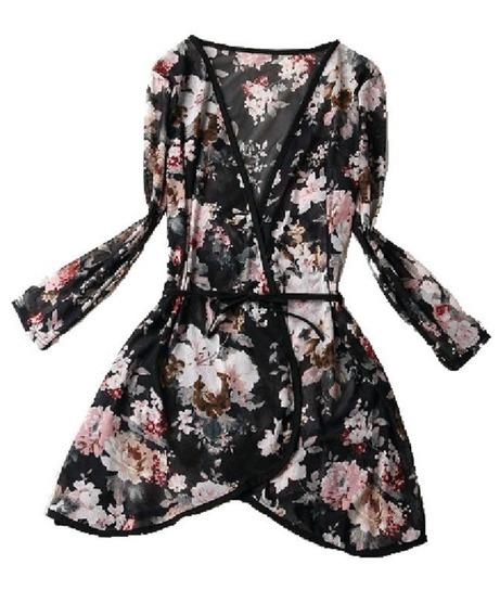Blusa Kimono Floral Casaquinho Cardigan Saída Praia Feminino