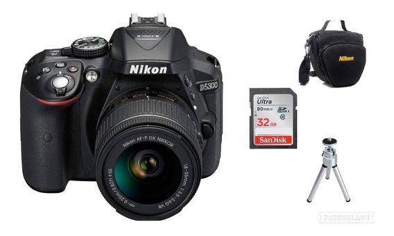 Câmera Nikon D5300 Af-p18-55mm 32gb+bolsa+tripé