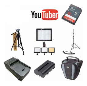 Kit Youtuber 32gb + 2 Tripés + Led160 + Carregador E Bateria