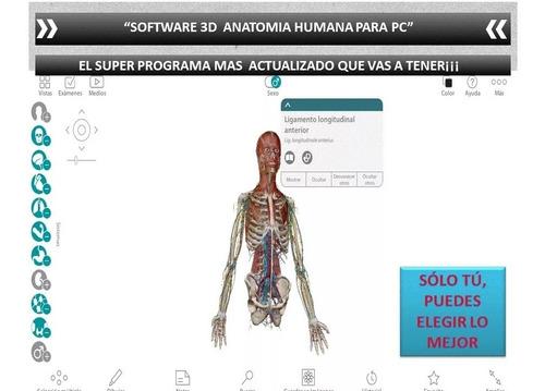Programa 3d Atlas Anatomía Humana Español Para Pc + Regalo