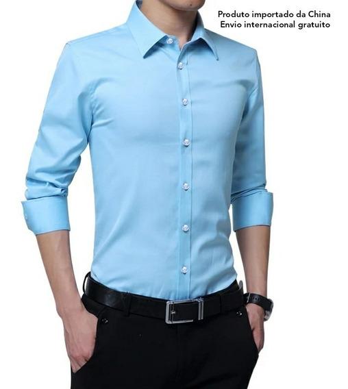 Camisa Social Masculina Slim Business Brother Wang