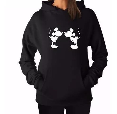 Blusa Moletom Mickey E Minnie Mouse Kiss Unissex Canguru