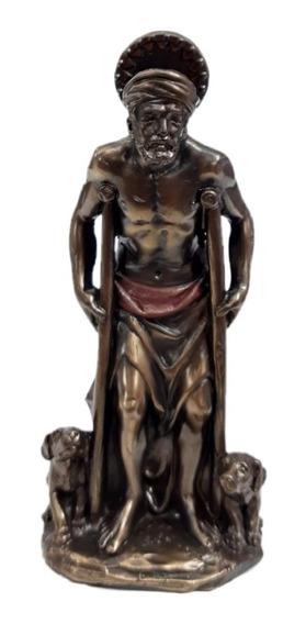 Hermosa Escultura Religiosa De San Lázaro - Orisha Cuba Babalu Aye Con Baño De Bronce