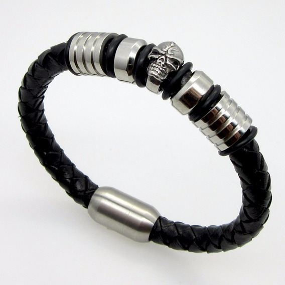 Bracelete Pulseira Couro Trançado Caveira Tribal Viking Punk