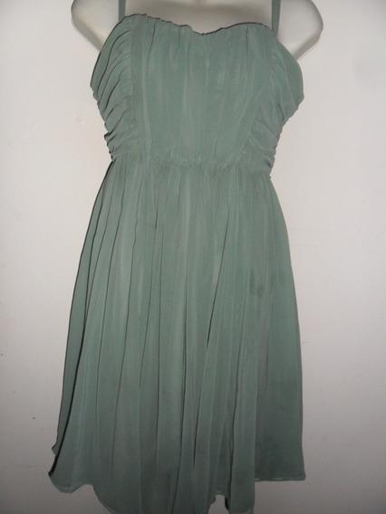 Vestido Corto Coctel Verde Musgo Con Cierre Y Tiras
