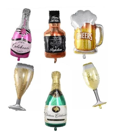 6 Globos Cerveza Whisky Champagne Y Copa