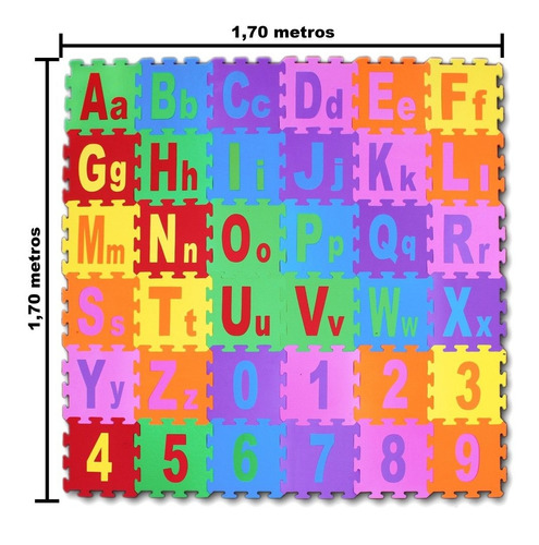 Tapete Eva Alfabeto Numeral Educativo Infantil Colorido 36