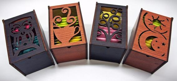 Caja De Te En Madera, 2 Divisiones Souvenirs Fibrofacil C/té