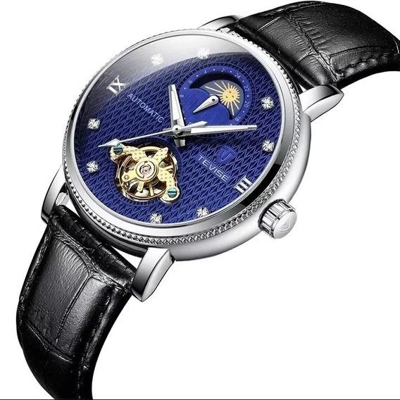 Relógio Masculino Tevise Automático Corda Couro Barato E.107