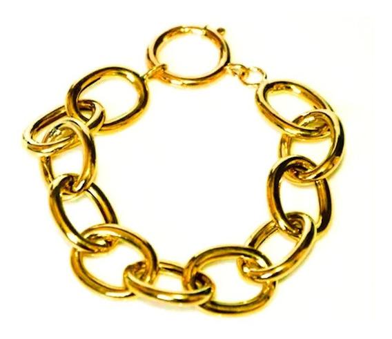 Pulseira Feminina Ouro 18k Argolas Gigantes 90g Maciça 0026