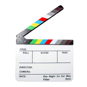 Claquete Cinema Profissional Branca Com Imã Colorida
