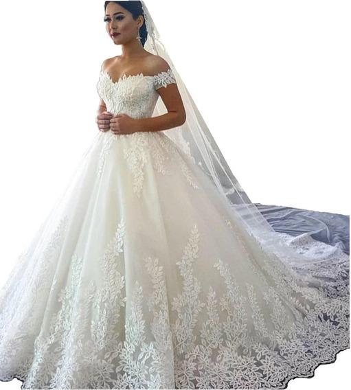 Nb55 Vestido De Noiva Folhas Princesa Lux Barato Cauda Véu