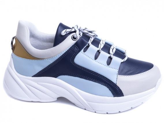 Tênis Chunky Sneaker Em Napa Azul E Off White Palmilha 8mm