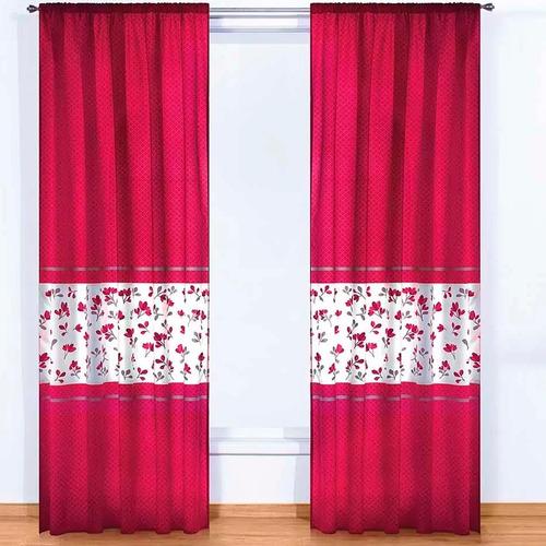 Imagen 1 de 1 de Juego De Cortinas Lori 2 Paneles De 1.30 X 2.20 Rojo Floral