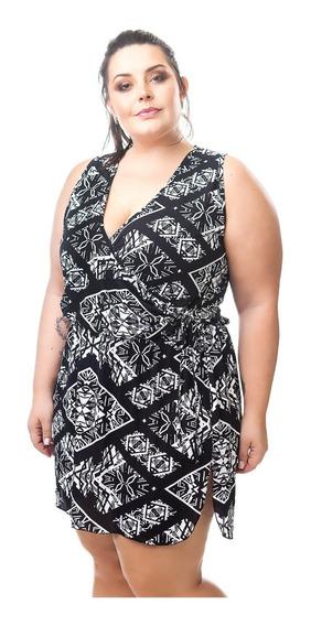 Saída De Praia Plus Size Vestido Ingrid Estampa Black