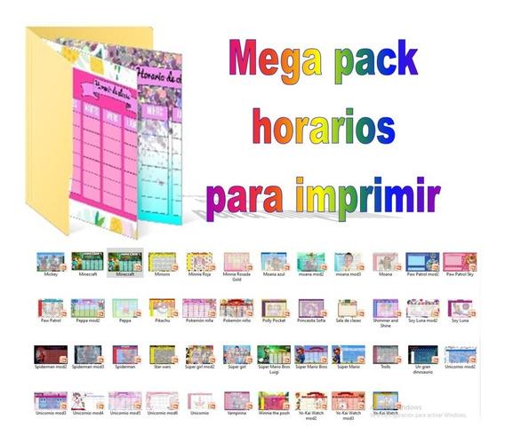 Kit Imprimible Horarios Escolares +100 Diseños Infantiles
