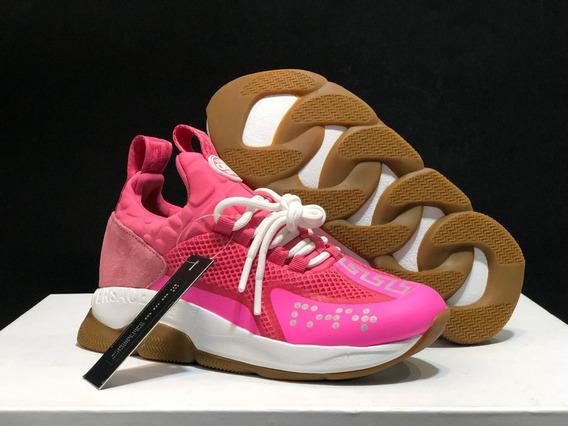 Tenis Versace Cross Chainer Fluorescent Pink