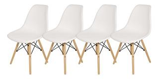 Sillas X 4 Comedor Plastico Patas Madera Diseño Eames Cuotas