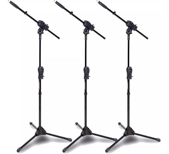 Kit C/ 3 Pedestais Suporte Girafa Microfone Ibox Smmax