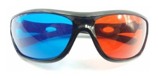 2 Peças Óculos 3d Azul E Vermelho Resistente Anaglífico