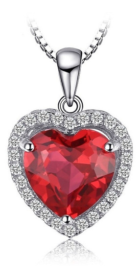 Dije Rubí Corazón Queen 3.6 Ct. Ak Jewelry Plata Solida 925