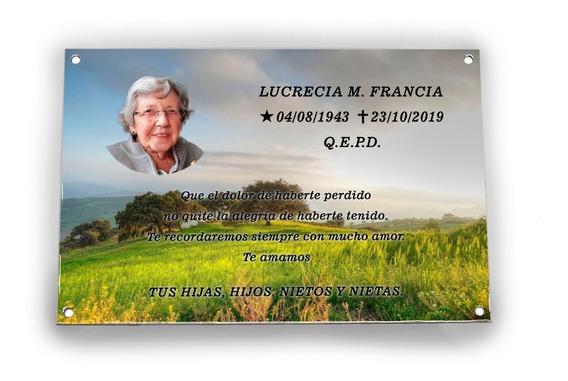 Placa Recordatoria Para Cementerio 20x15cm, Foto Enlozada.