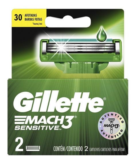 Cartuchos Para Afeitar Gillette Mach3 Sensitve 2 Unidades