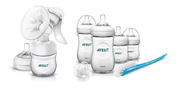 Sacaleche Manual Philips Avent + Mamaderas, Cepillo Chupete