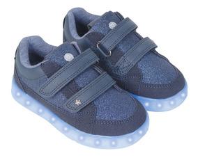 Zapatilla Luces Azul Caña Baja Con Velcro Niña Colloky