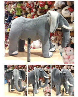 Elefante De Peluche Gigante Con Colmillo Símil Real