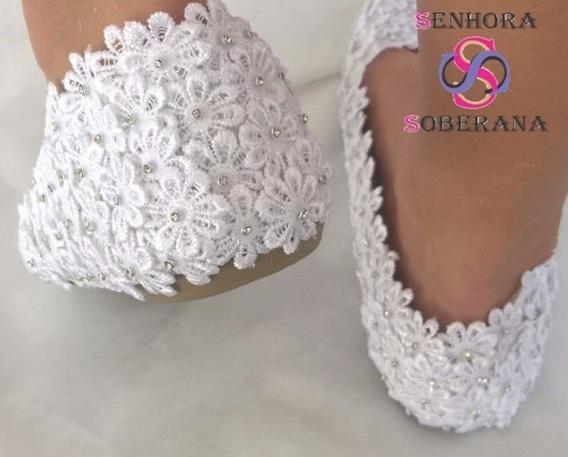 Sapatilha Fechada Florada Branca Brilho (madrinha)(noivas)