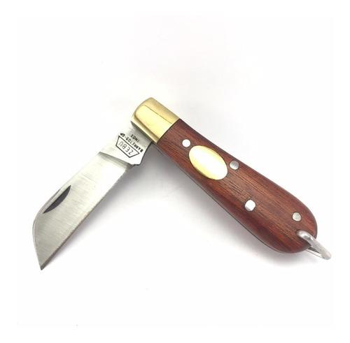Canivete Zebu Barretos 614 Inox Cabo Madeira Com Bainha