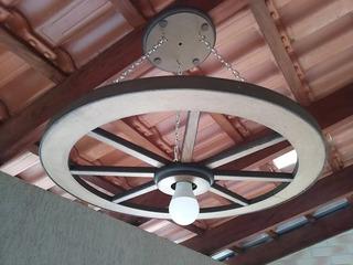 Luminaria Roda De Carroça Madeira Rústico 60 Cm