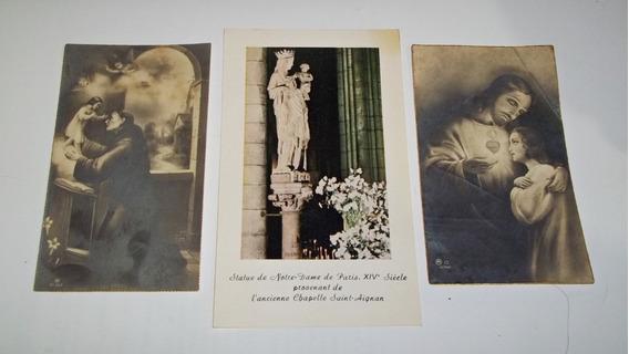 Estampas Religiosas (3) Notre Dame Francia 1930-7 Antiguas