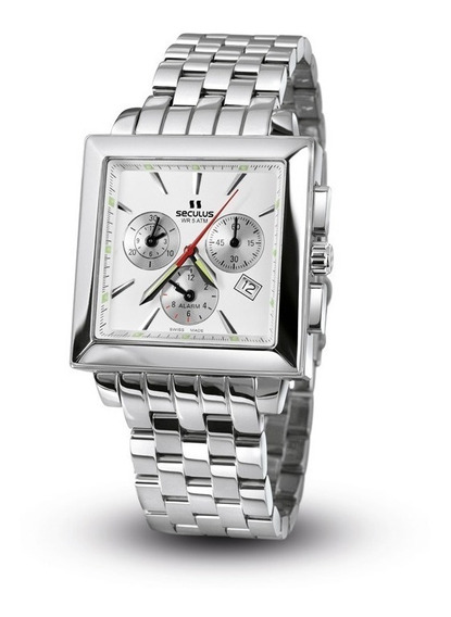 Relógio Masculino Seculus 95291513m Swiss Made Alarme Crono