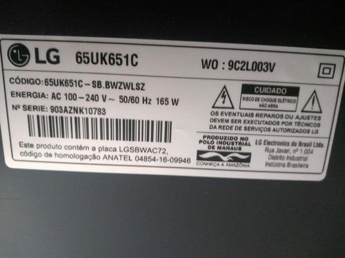 Tv LG 65  4k 65uk65i Com Display Quebrado Funcionando Normal