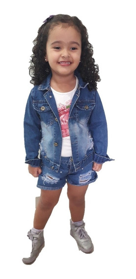 Jaqueta Jeans Infantil Feminina Kit Com 3 Peças Por R$105.00