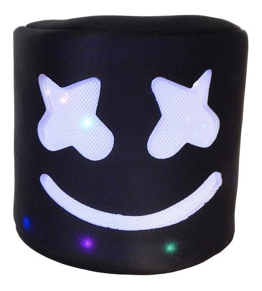 Marshmello Mascara Luz Led Dj Casco Cabeza Marshmallow Negro