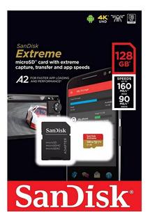 Cartao De Memoria Micro Sd 128gb Sandisk Extreme U3 160mb/s 4k A2 Lacrado Gopro 7 8 9 Samsung Motorola Huawei