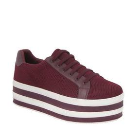 Zapato Casual Con Cintas 4cm Suela Ancha Corrida