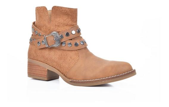 Botita Cuero Reptil Tachas Calzado Mujer Riot Zapatos