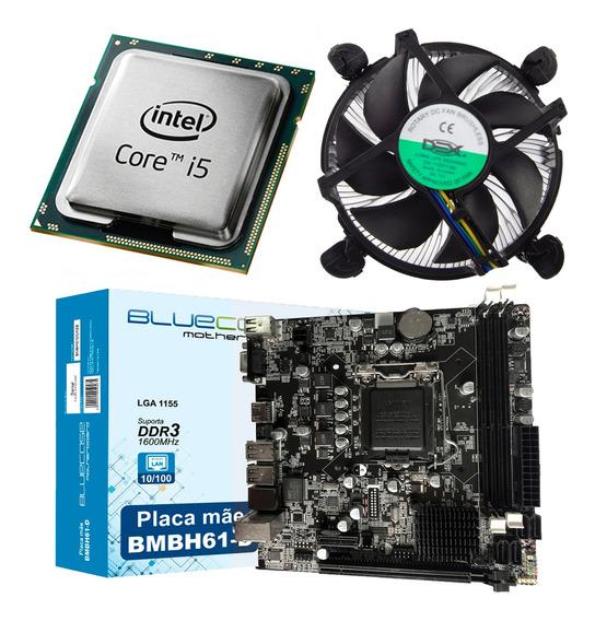 Kit Intel Processador Core I5 2400 + Placa Mãe H61 Ddr3 + Cooler Com Pasta Térmica Prata / Kit Gamer Completo Com Nfe