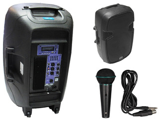 Bafle Potenciado 15 600w Usb Mp3 Bt Activo + Mic Gbr39