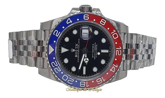 Relógio Eta - Modelo Gmt-master Ii Pepsi Aço 904l Gm Factory