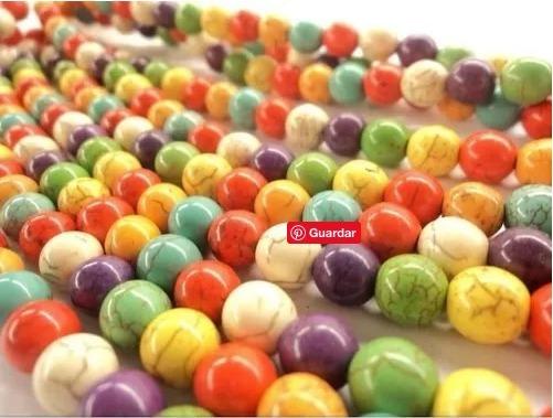 Pasta Turquesa Multicolor 6mm Piedra Bisuteria 1 Tira