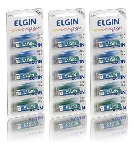 Bateria Alcalina 12v A27 3 Cartelas 15 Unidades Elgin