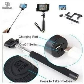 Bastão De Selfie Com Controle Remoto Bluetooth E Adap Cel.